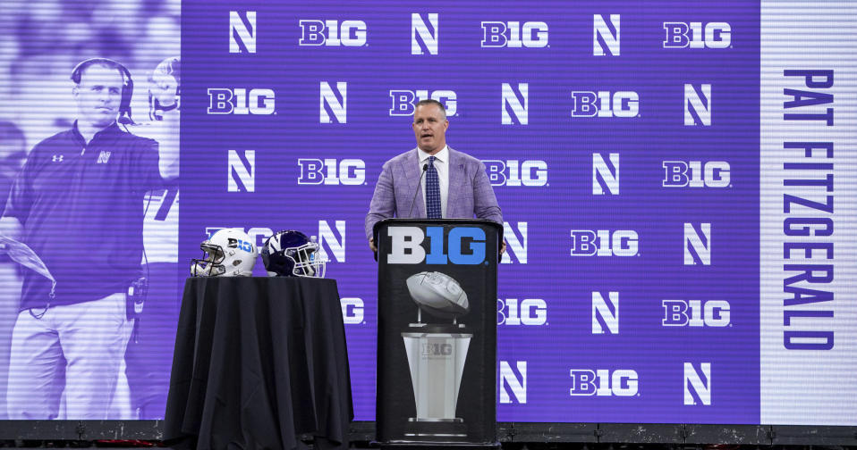 Northwestern head coach Pat Fitzgerald speaks during an NCAA college football news conference at the Big Ten Conference media days, Thursday, July 22, 2021, at Lucas Oil Stadium in Indianapolis. (AP Photo/Doug McSchooler)