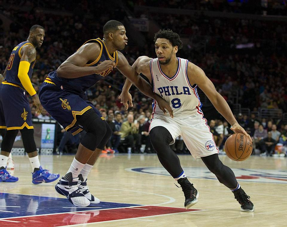 Jahlil Okafor has heard his name tossed around in trade talks. (Mitchell Leff/Getty Images)