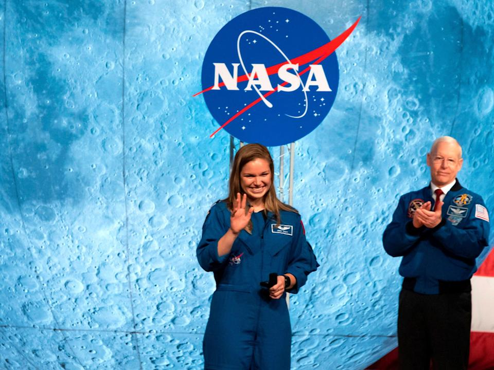 Astronaut Jasmin Moghbeli graduates at Johnson Space Center in Houston Texas, on 10 January, 2020. She is among the first to graduate under Nasa's Artemis program, which aims to begin missions to the Moon, and ultimately to Mars (AFP via Getty Images)
