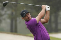 Paul Casey, of England, tees off on the third hole during the final round of the Masters golf tournament Sunday, Nov. 15, 2020, in Augusta, Ga. (AP Photo/Chris Carlson)