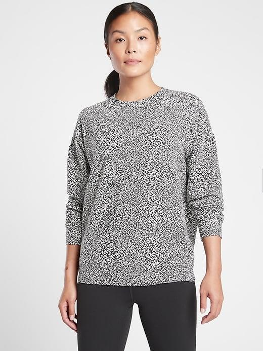 <p>Which pattern of this <span>Athleta Studio to Street Printed Sweatshirt</span> ($79) do you prefer? We're partial to this speckled print and the gray snakeskin, too.</p>