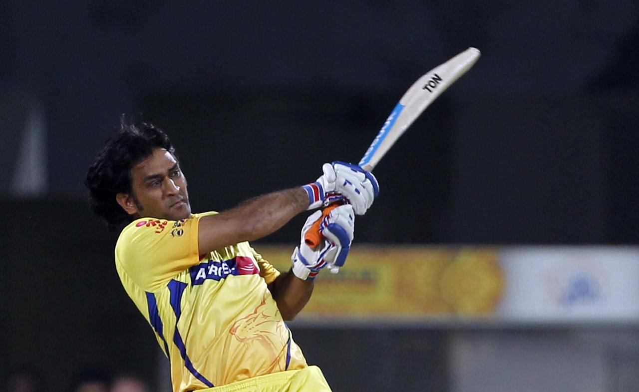 CHENNAI, INDIA - MAY 25: Chennai Super King batsman Mahendra Singh Dhoni plays a shot during the IPL Qualifier 2 match between Delhi Daredevils and Chennai Super Kings at MA Chidambaram stadium on May 25, 2012 in Chennai, India. Chennai Super Kings won by 86 runs. They will now meet Kolkata Knight Riders in Finals on May 27.(Photo by Santosh Harhare/ Hindustan Times via Getty Images)