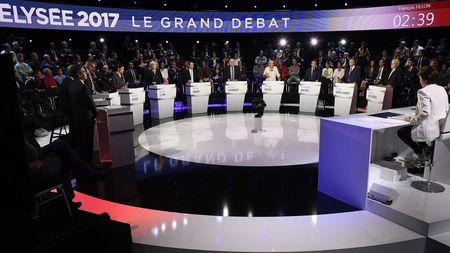 Candidates attend a prime-time televised debate for the French 2017 presidential election in La Plaine Saint-Denis, near Paris, France, April 4, 2017.   REUTERS/Lionel Bonaventure