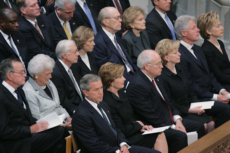 Former Presidents and First Ladies Bush, Carter, Ford and Clinton join President and Mrs. Bush and Vice President and Mrs. Cheney at the funeral for President Ronald Reagan at National Cathedral, June 11, 2004.