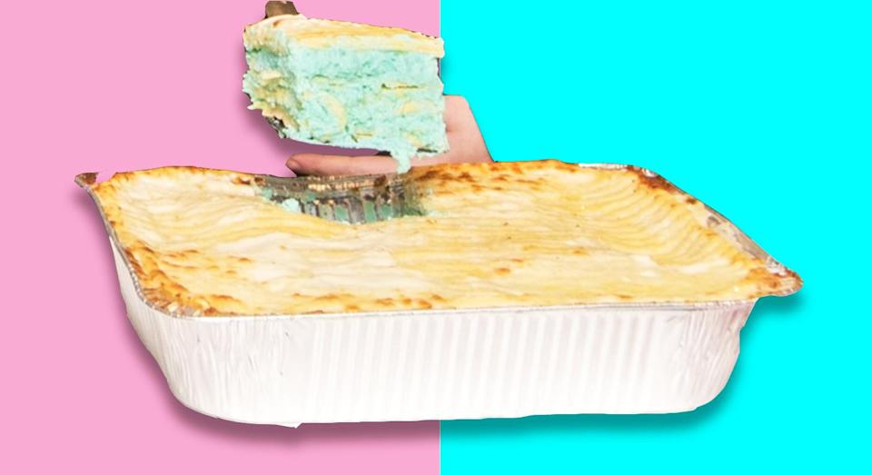This gender reveal lasagne certainly isn't for everyone. [Photo: Villa Italian Kitchen]