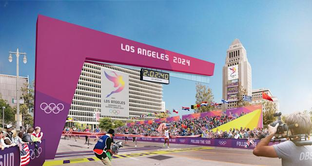 <p>Downtown Sports Park Rendering – City Hall. (Photo courtesy of LA2028) </p>