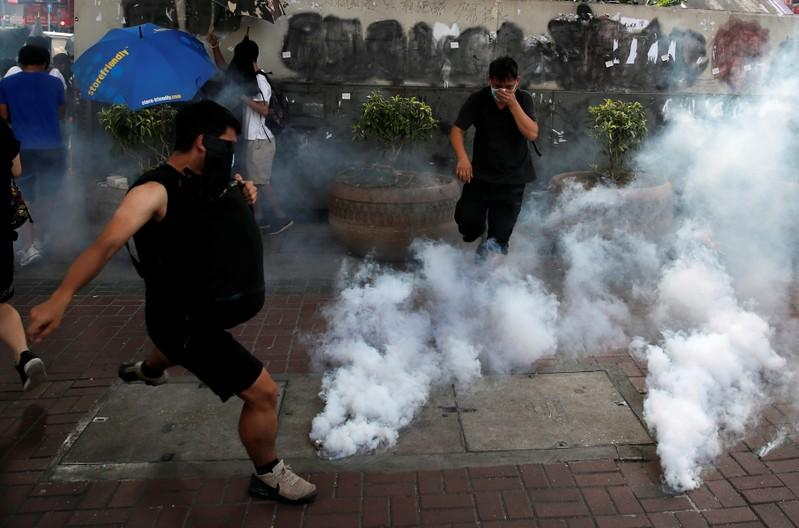 Anti-government demonstrators protest in Hong Kong