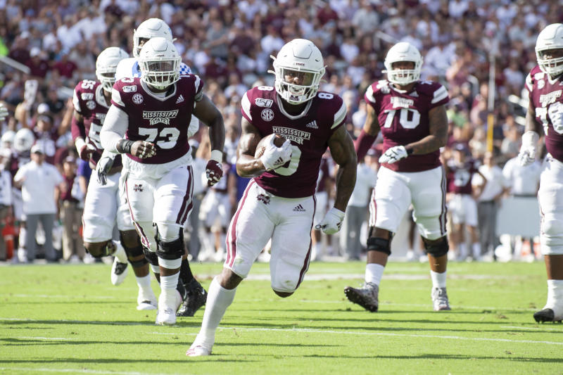Mississippi State running back Kylin Hill has rushed for 1,347 yards and 10 TDs this year. (Photo by Michael Chang/Getty Images)