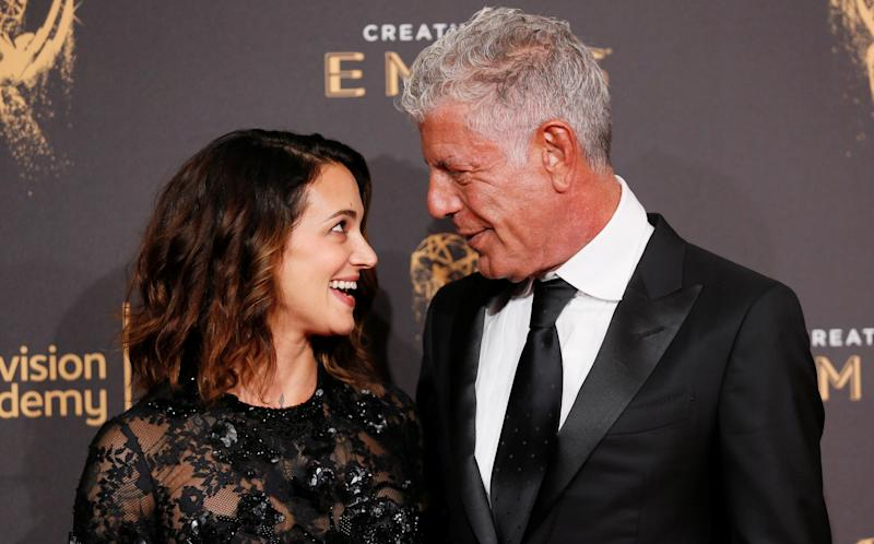 Bourdain and Argento at the Emmys on Sept. 9, 2017.