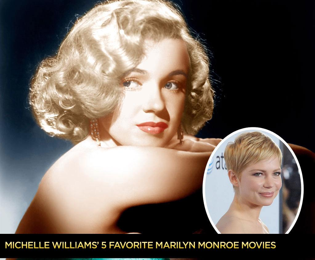 """In preparation for portraying Marilyn Monroe, Michelle Williams did her homework. She watched the icon's movies, sought out obscure You Tube videos, and pored over the star's notebooks, poetry, doodles, and letters -- even thank-you notes! Here are her five favorite Monroe films -- and while they're not all masterpieces, each one shows why Monroe's reputation as an actress and sex symbol has survived long after her death -- a """"probable suicide"""" -- at 36 in 1962."""