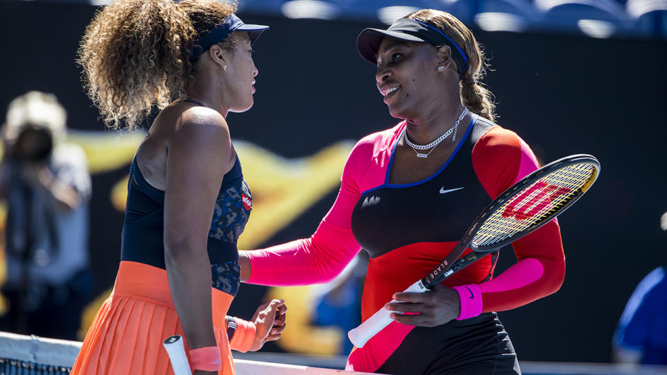 Naomi Osaka and Serena Williams, pictured here after their clash in the Australian Open semi-finals.