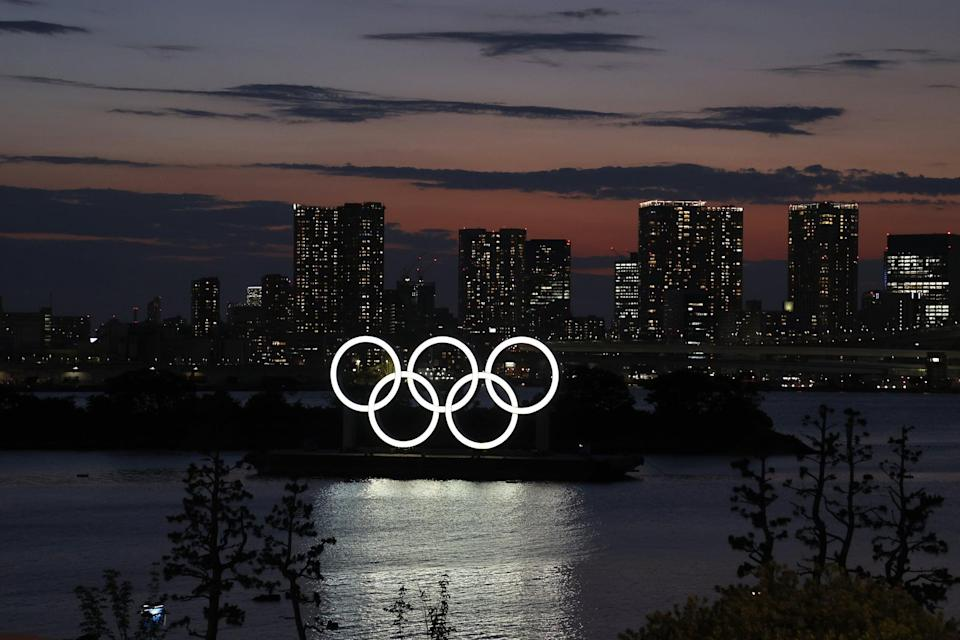TOKYO, JAPAN - JULY 19: The Olympic Rings are displayed by the Odaiba Marine Park Olympic venue ahead of the Tokyo 2020 Olympic Games on July 19, 2021 in Tokyo, Japan. (Photo by Toru Hanai/Getty Images)