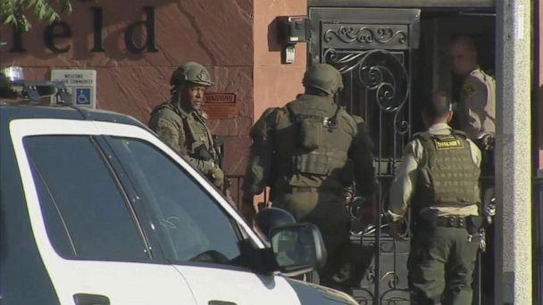 PHOTO: Police search for the gunman after a sheriff's deputy was shot heading to his car in a parking lot in Lancaster, Calif., Aug. 21, 2019. (KABC)