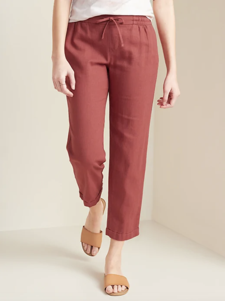 Mid-Rise Cropped Linen-Blend Pants (Credit: Old Navy)