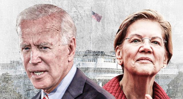 Democratic presidential candidates Joe Biden and Elizabeth Warren. (Yahoo News photo illustration; photos: Rick Loomis/Getty Images, Scott Olson/Getty Images)