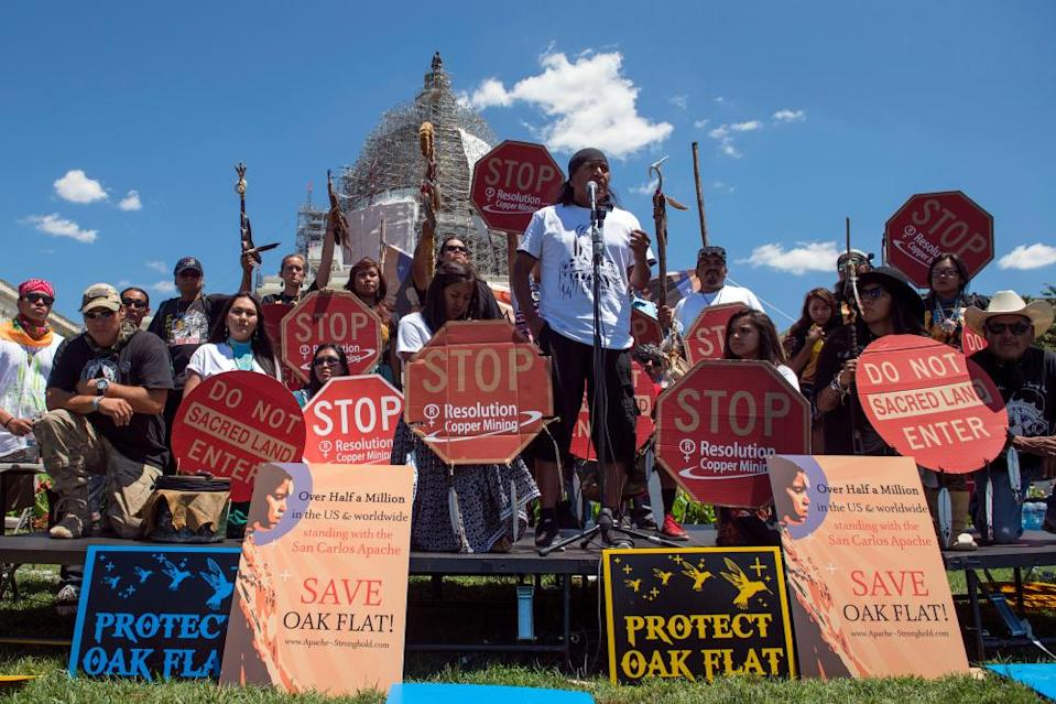 Nosie speaks with Apache activists at a rally near Superior, Arizona, in front of the US Capitol in Washington in 2015.