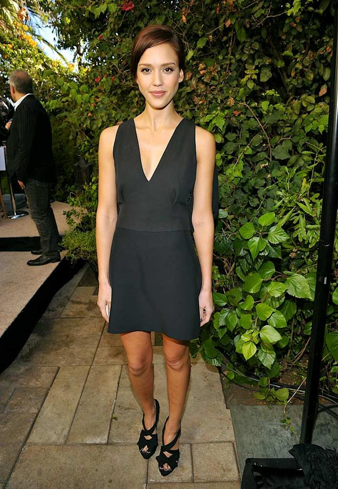 """Jessica Alba arrived at the garden soiree, which included tea and a fashion show presented by Frederic Fekkai, wearing a simple yet stylish Prada frock. John Shearer/<a href=""""http://www.wireimage.com"""" target=""""new"""">WireImage.com</a> - October 30, 2009"""