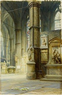 """<span class=""""caption"""">Luke Fildes, Dickens's grave in Westminster Abbey (1873).</span> <span class=""""attribution""""><span class=""""source"""">Charles Dickens Museum</span>, <a class=""""link rapid-noclick-resp"""" href=""""http://creativecommons.org/licenses/by/4.0/"""" rel=""""nofollow noopener"""" target=""""_blank"""" data-ylk=""""slk:CC BY"""">CC BY</a></span>"""