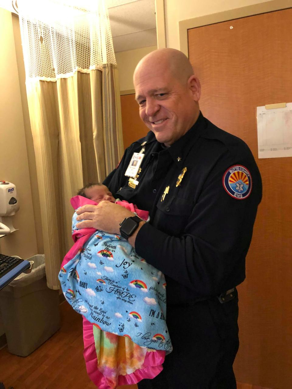 Mickey Huber meets the baby whose mother's life he saved. (Photo Courtesy of Anastasia Skinner)