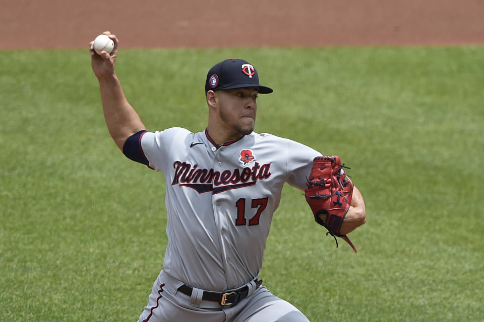 Minnesota Twins pitcher Jose Berrios delivers against the Baltimore Orioles in the first inning of a baseball game Monday, May 31, 2021, in Baltimore.(AP Photo/Gail Burton)