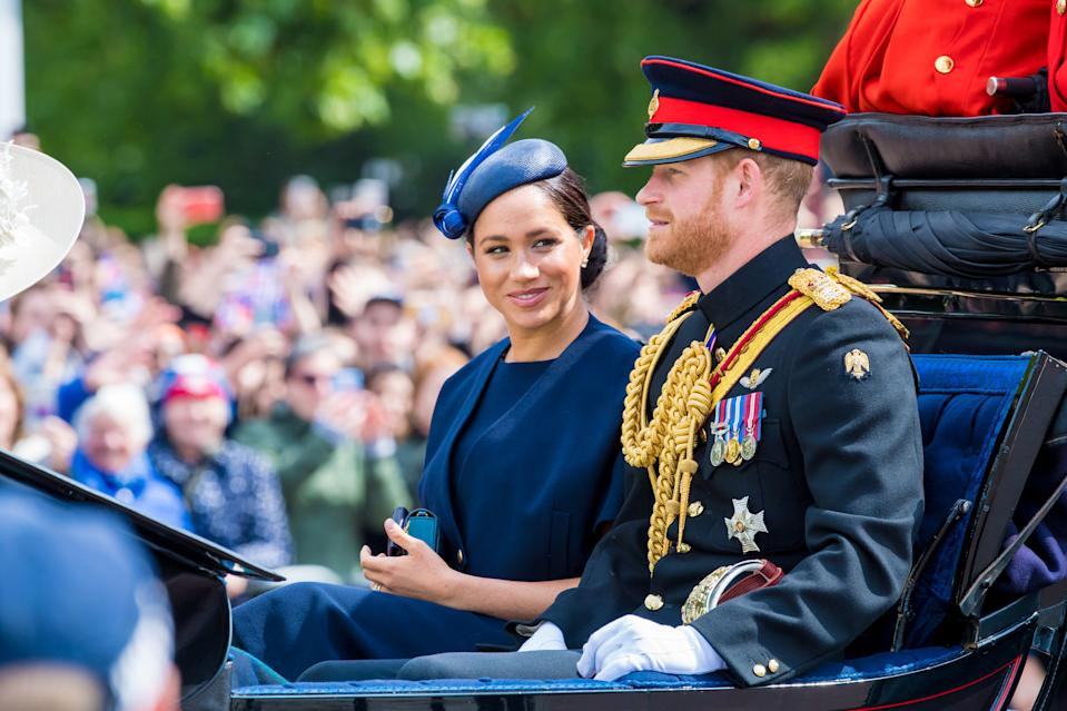 Meghan, Duchess of Sussex, making her first appearance at a public engagement Saturday since the birth of her son, Archie Harrison Mountbatten-Windsor, at the traditional Trooping the Colour, a celebration of the Queen's official birthday. (Photo by DPPA/Sipa USA)