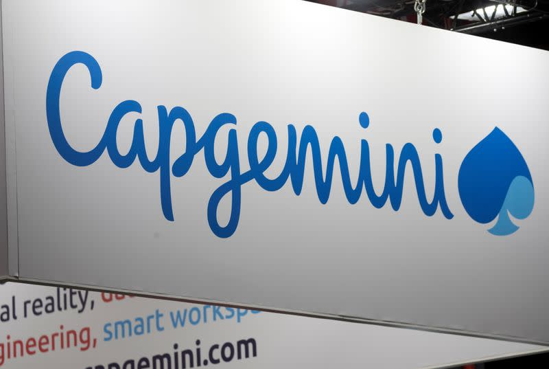 FILE PHOTO: The logo of Capgemini is pictured during the Viva Tech start-up and technology summit in Paris
