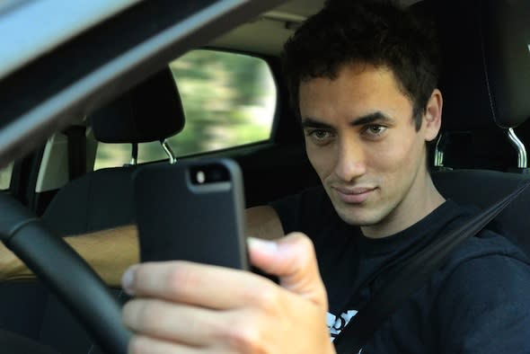 Taking selfie while driving
