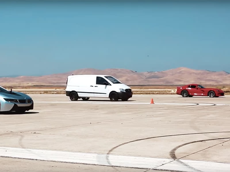 Watch A Viper And A Bmw I8 Fall To The Ferrari Beating Electric Van