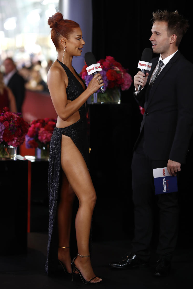 She stunned crowds with the black sequinned number. Photo: Getty Images