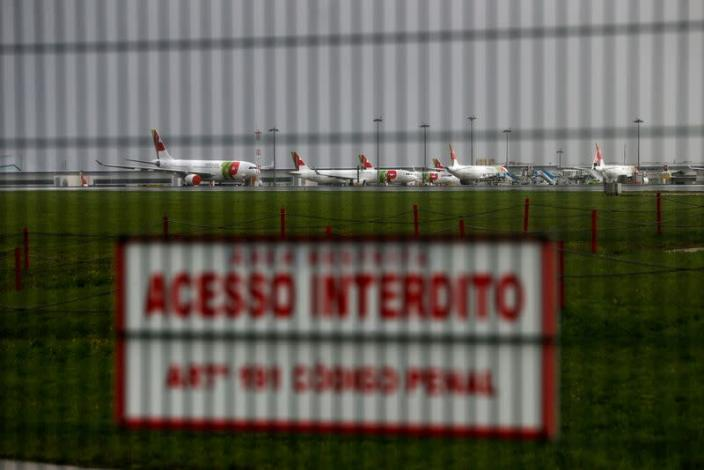 FILE PHOTO: Planes are seen at Lisbon's airport