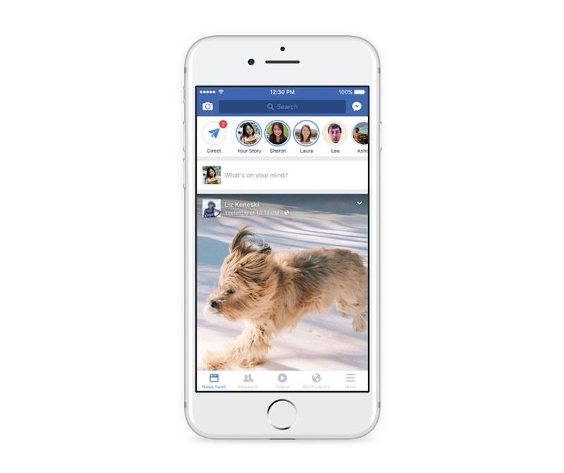 A smartphone displaying the Facebook app with Stories along the top.