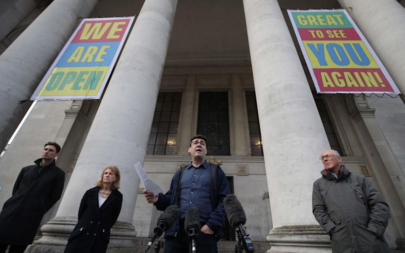 Andy Burnham earlier this week delivering his strongly-worded speech on the steps of Central Library in Manchester - MARTIN RICKETT/POOL/AFP