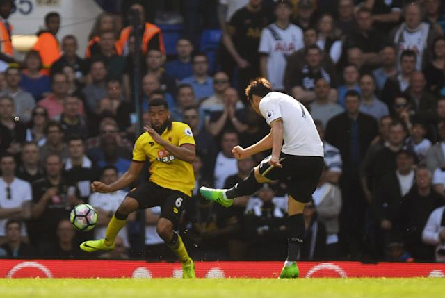 <p>Heung-Min Son makes it 3-0 to Tottenham</p>