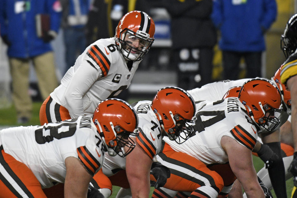 Browns quarterback Baker Mayfield didn't meet one of his lineman until they were both in the locker room before the game. (AP Photo/Don Wright)