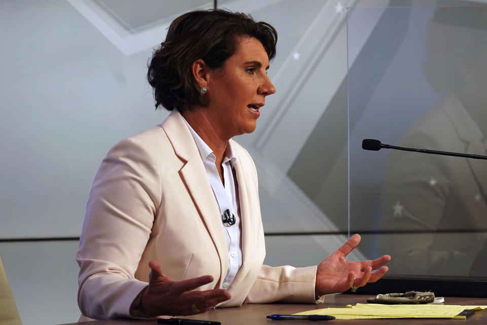 Democratic candidate for US Senate Amy McGrath speaks during a debate with Senate Majority Leader Mitch McConnell, R-Ky., in Lexington, Ky., Monday, Oct. 12, 2020. (Michael Clubb/The Kentucky Kernel via AP, Pool)