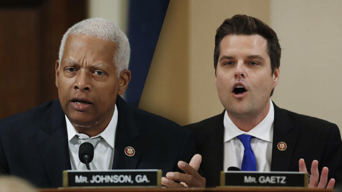 Rep. Hank Johnson, D-Ga., and Rep. Matt Gaetz, R-Fla. (Photos: Alex Brandon/AP)