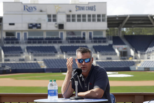 Tampa Bay Rays manager Kevin Cash speaks to the media after pitchers and catcher reported for spring training baseball camp Wednesday, Feb. 12, 2020, in Port Charlotte, Fla. (AP Photo/John Bazemore)