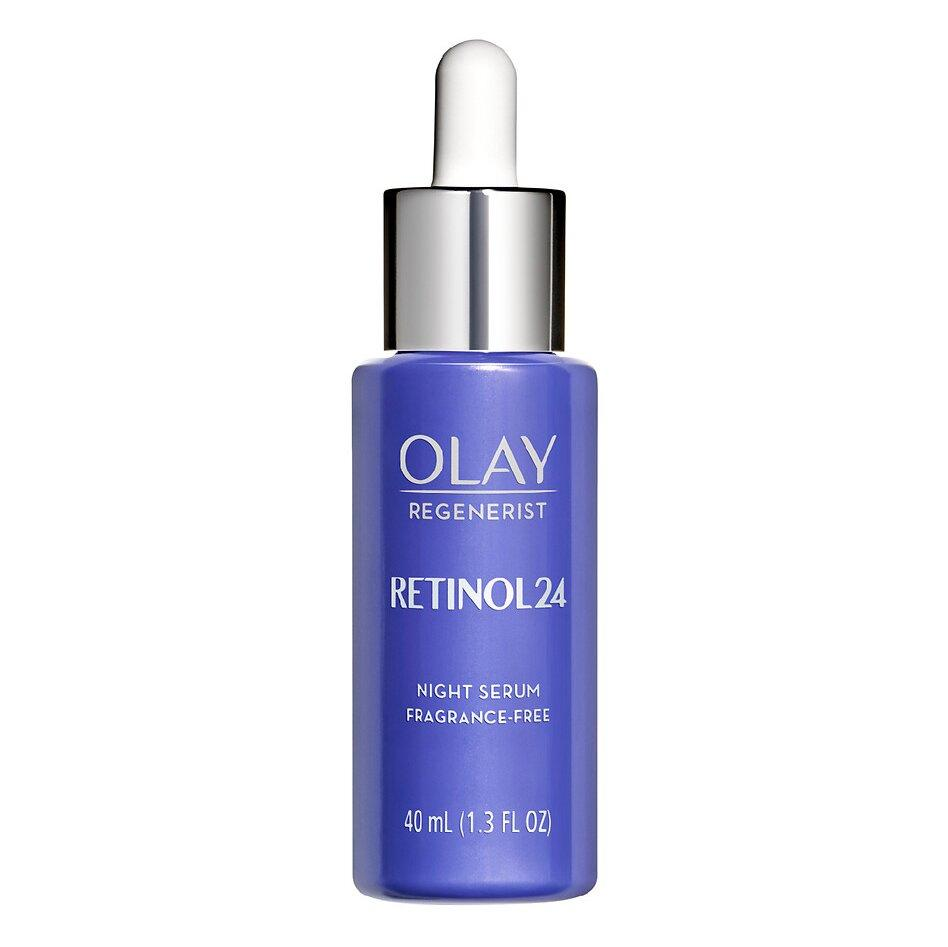 """<p>Relying on a blend of vitamin B3 and retinol, this night serum works to reduce fine lines and wrinkles, <a href=""""https://www.instyle.com/beauty/best-serums-dark-spots"""" target=""""_blank"""">dark spots</a>, and enlarged pores — and keeps skin hydrated for 24 hours (hence the name). <a href=""""https://www.olay.com/regenerist-retinol-24-night-facial-serum-fragrance-free"""" target=""""_blank"""">One reviewer</a>, who said she's been using Olay products since she was 14, noted that the product is """"like fine wine."""" She added: """"Olay has tapped into the Fountain of Youth with this new line.""""</p>"""