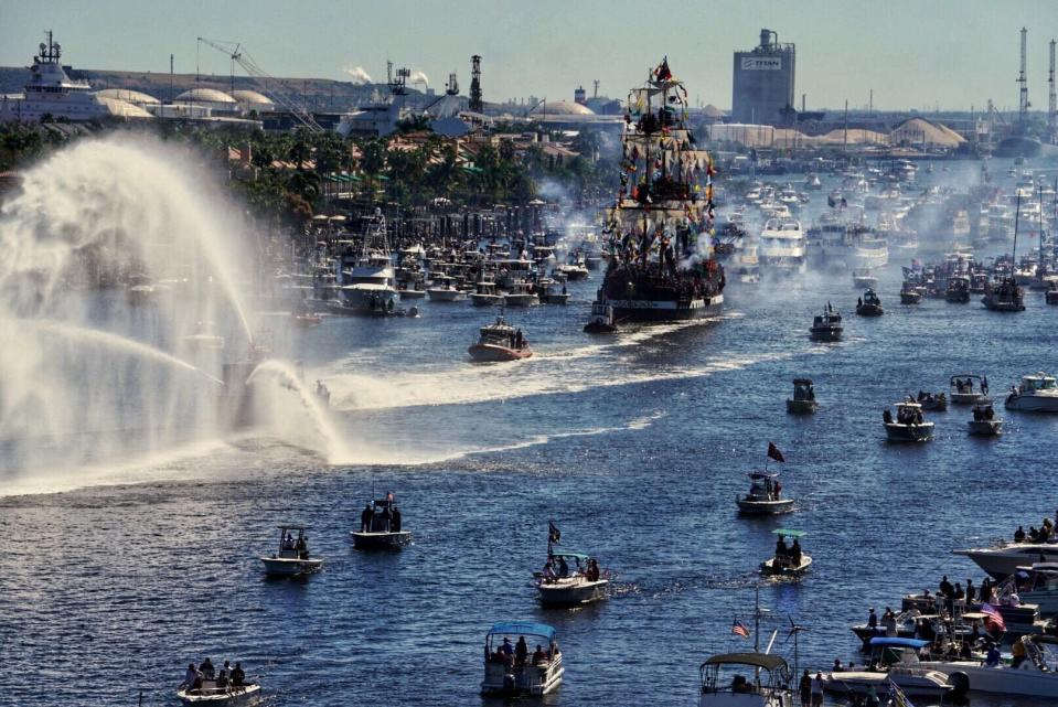 The pirate ship Jose Gasparilla bears down on Tampa, Fla., for the annual pirate celebration on Jan. 25, 2020. The event, held as a celebration of pirate lore known as Gasparilla for more than 100 years in Tampa, has been canceled this year due to the coronavirus pandemic. Ye Mystic Krewe of Gasparilla says the next one won't be held until January 2022. (Tampa Bay Times via AP)