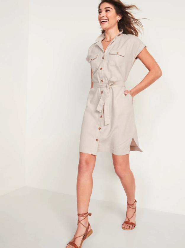 Old Navy Waist-Defined Linen-Blend Tie-Belt Shirt Dress. Image via Old Navy.