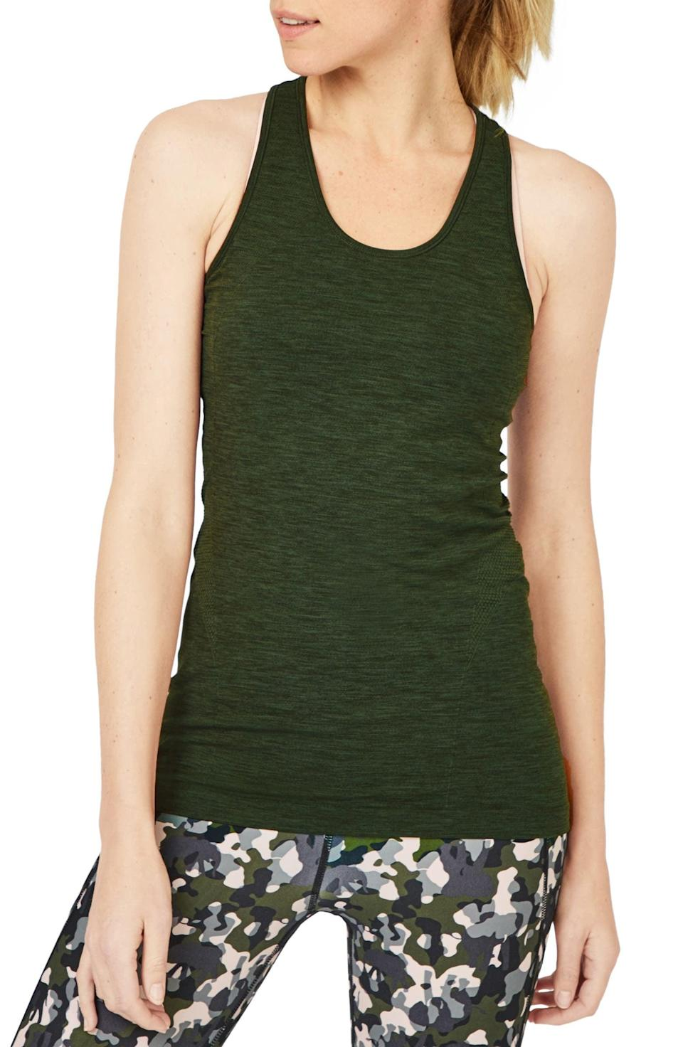 <p>For me, the hunt for the perfect workout tank is eternal. I like this classic <span>Sweaty Betty Athlete Seamless Racerback Tank</span> ($48).</p>