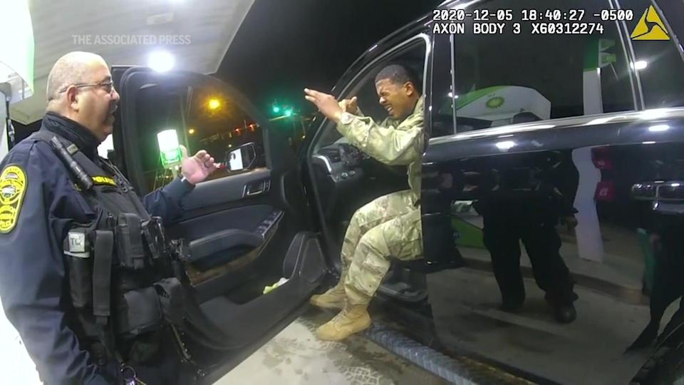Army Lt. Caron Nazario has filed suit against Virginia police officers Joe Gutierrez and Daniel Crocker, and the December video from the officers' body cameras and Nazario's cellphone has gone viral in recent days. The Windsor Police Department said Gutierrez has been fired.