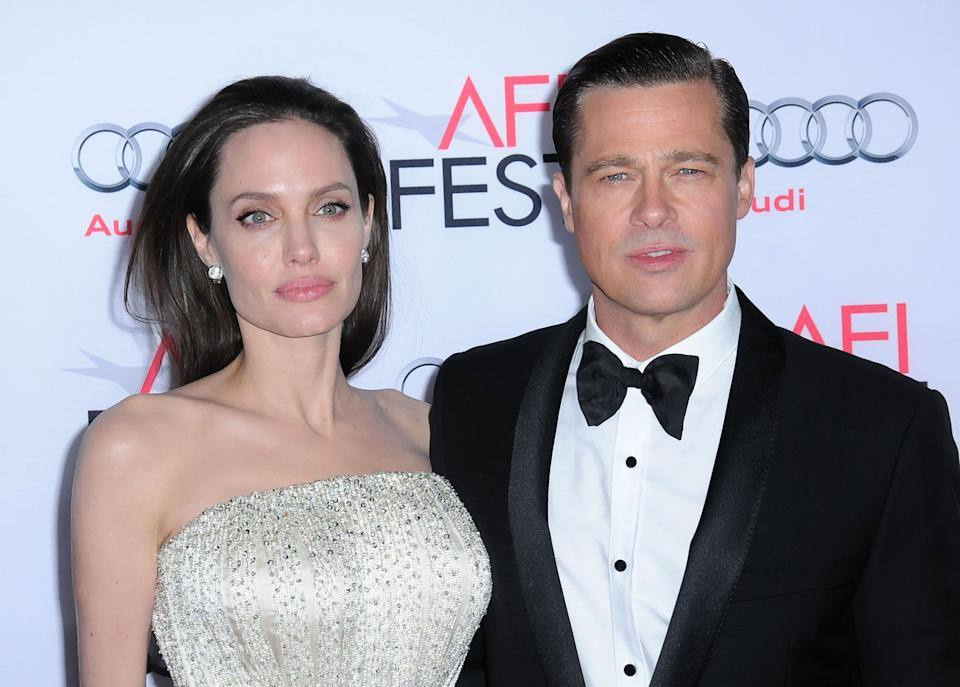 Angelina Jolie and actor Brad Pitt arrive at AFI Fest 2015. (Photo: Barry King/Getty Images)