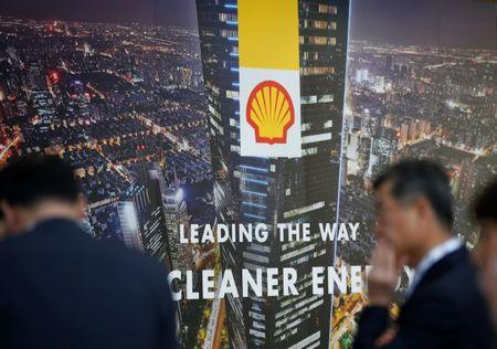 Logo of Royal Dutch Shell is seen at Gastech, the world's biggest expo for the gas industry, in Chiba