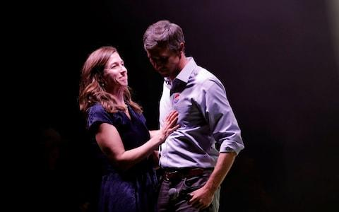 <span>Beto O'Rourke, with his wife Amy, concedes defeat in Texas</span>