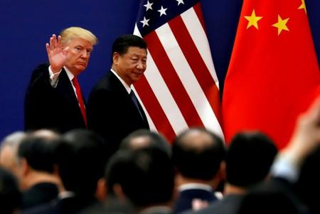 U.S. President Donald Trump and China's President Xi Jinping meet business leaders at the Great Hall of the People in Beijing