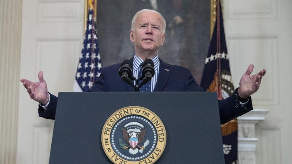 President Biden delivers remarks on the Senate passage of the $1.9tn coronavirus relief bill from the State Dining Room of the White House in Washington, DC, USA, 06 March 2021