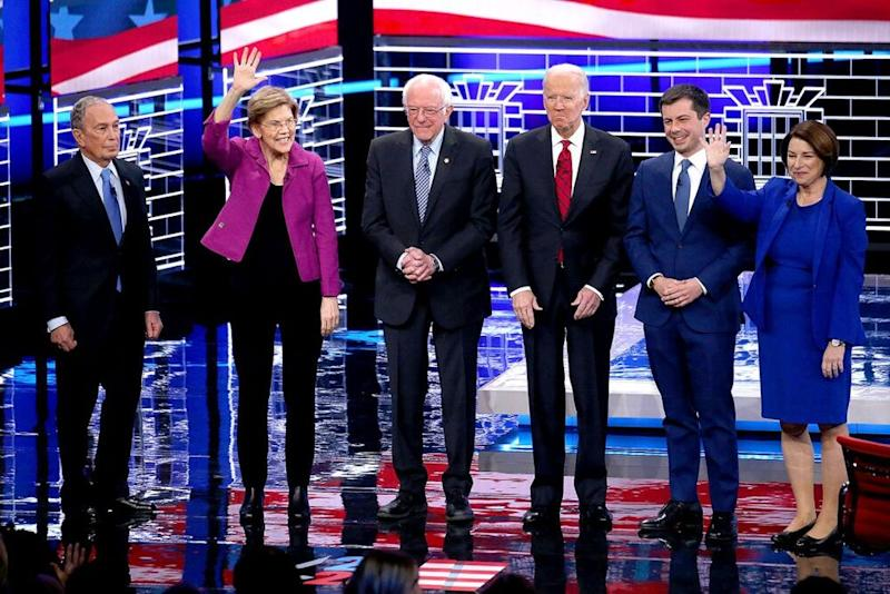 From left: Mike Bloomberg, Elizabeth Warren, Bernie Sanders, Joe Biden, Pete Buttigieg and Amy Klobuchar on Feb. 19. | Mario Tama/Getty
