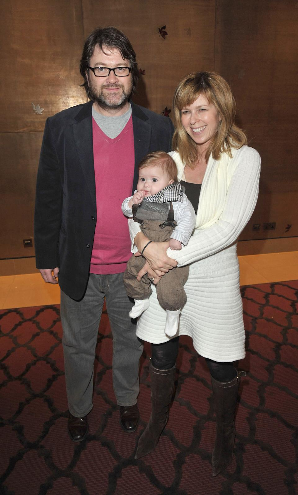 LONDON, UNITED KINGDOM - JANUARY 24: Kate Garraway, her husband Derek Draper and their son Billy attends The Princess And The Frog special event at The Mayfair Hotel on January 24, 2010 in London, England. (Photo by Jon Furniss/WireImage)