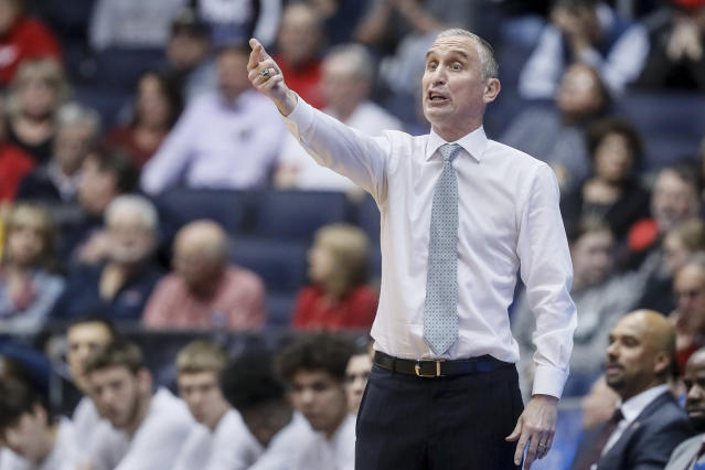 Arizona State coach Bobby Hurley gestures during the second half of the team's First Four game against St. John's in the NCAA men's college basketball tournament Wednesday, March 20, 2019, in Dayton, Ohio. (AP Photo/John Minchillo)